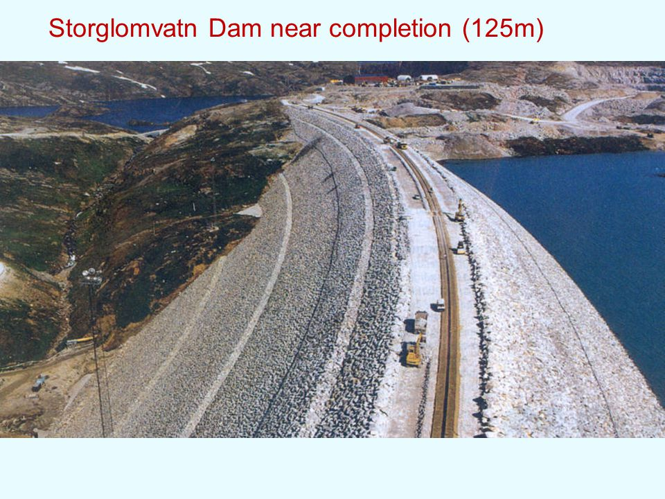 Storglomvatn Dam near completion (125m)