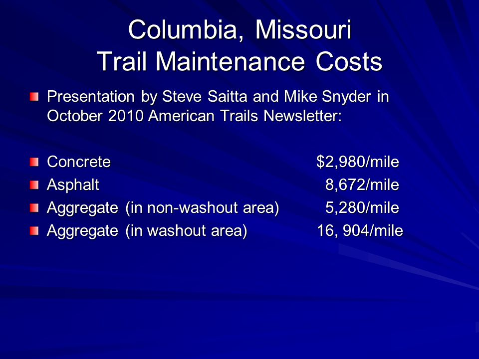 Columbia, Missouri Trail Maintenance Costs Presentation by Steve Saitta and Mike Snyder in October 2010 American Trails Newsletter: Concrete$2,980/mile Asphalt 8,672/mile Aggregate (in non-washout area) 5,280/mile Aggregate (in washout area)16, 904/mile