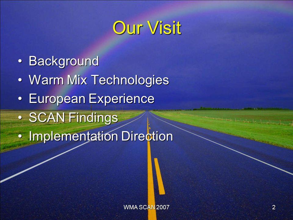 WMA SCAN 20072 Our Visit BackgroundBackground Warm Mix TechnologiesWarm Mix Technologies European ExperienceEuropean Experience SCAN FindingsSCAN Findings Implementation DirectionImplementation Direction