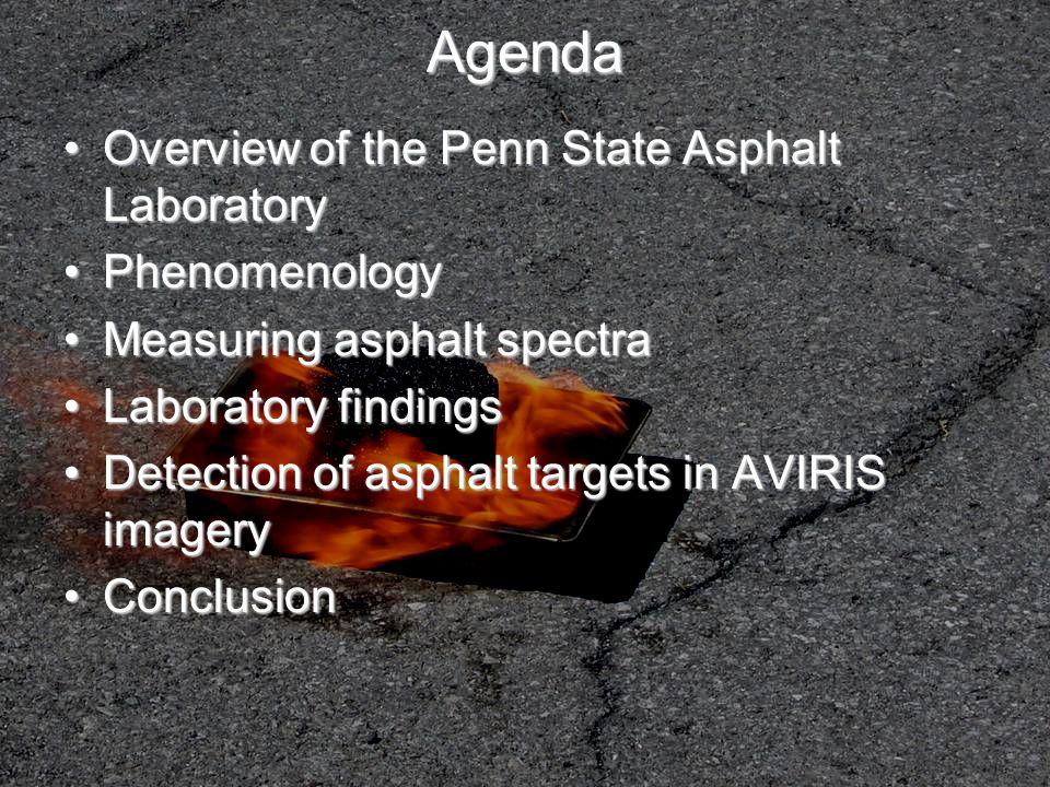 Agenda Overview of the Penn State Asphalt LaboratoryOverview of the Penn State Asphalt Laboratory PhenomenologyPhenomenology Measuring asphalt spectra