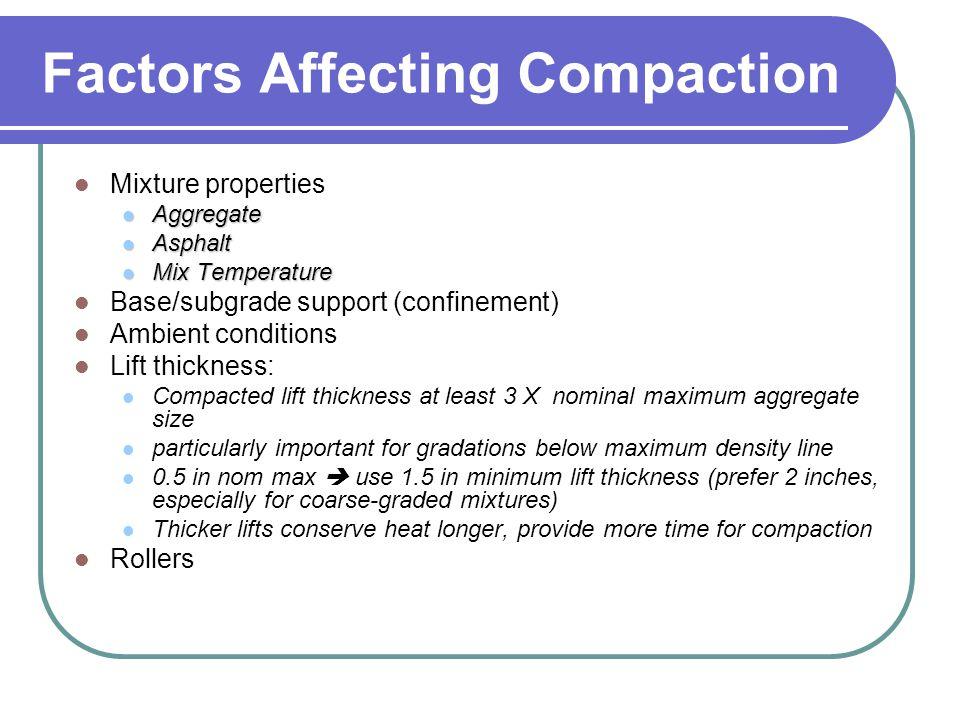 Factors Affecting Compaction Mixture properties Aggregate Aggregate Asphalt Asphalt Mix Temperature Mix Temperature Base/subgrade support (confinement