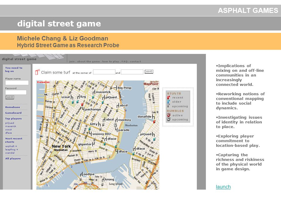 digital street game launch Michele Chang & Liz Goodman Hybrid Street Game as Research Probe Implications of mixing on and off-line communities in an i