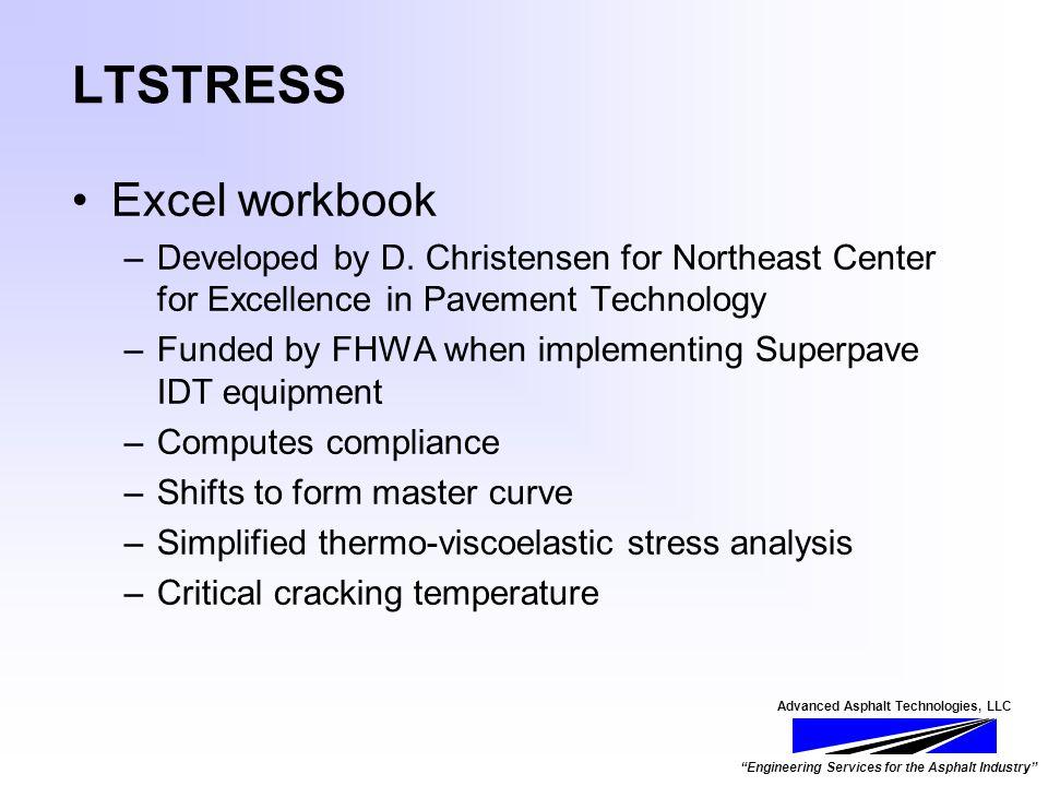 Advanced Asphalt Technologies, LLC Engineering Services for the Asphalt Industry LTSTRESS Excel workbook –Developed by D.