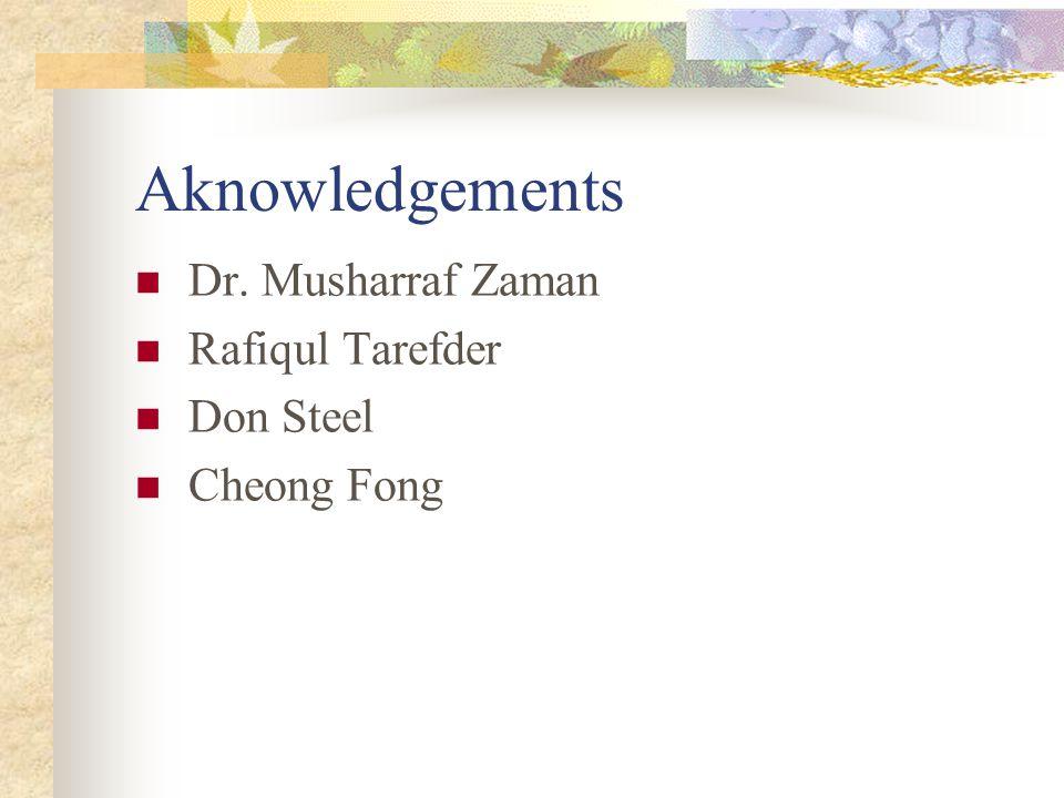 Aknowledgements Dr. Musharraf Zaman Rafiqul Tarefder Don Steel Cheong Fong