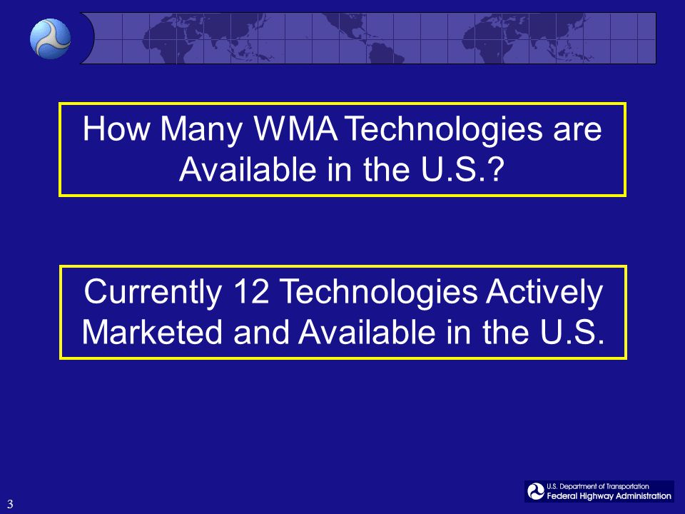 3 Currently 12 Technologies Actively Marketed and Available in the U.S.