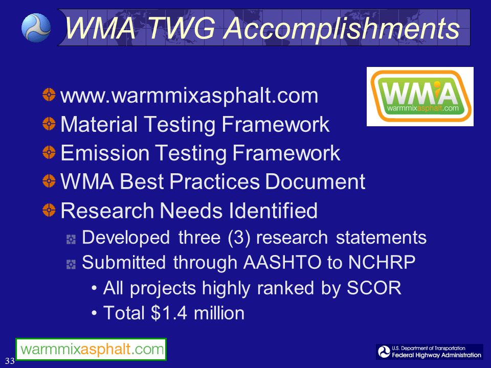 33 www.warmmixasphalt.com Material Testing Framework Emission Testing Framework WMA Best Practices Document Research Needs Identified Developed three (3) research statements Submitted through AASHTO to NCHRP All projects highly ranked by SCOR Total $1.4 million WMA TWG Accomplishments