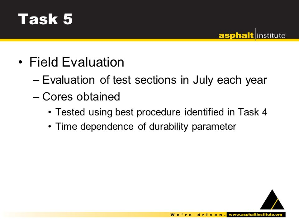 Task 5 Field Evaluation –Evaluation of test sections in July each year –Cores obtained Tested using best procedure identified in Task 4 Time dependence of durability parameter