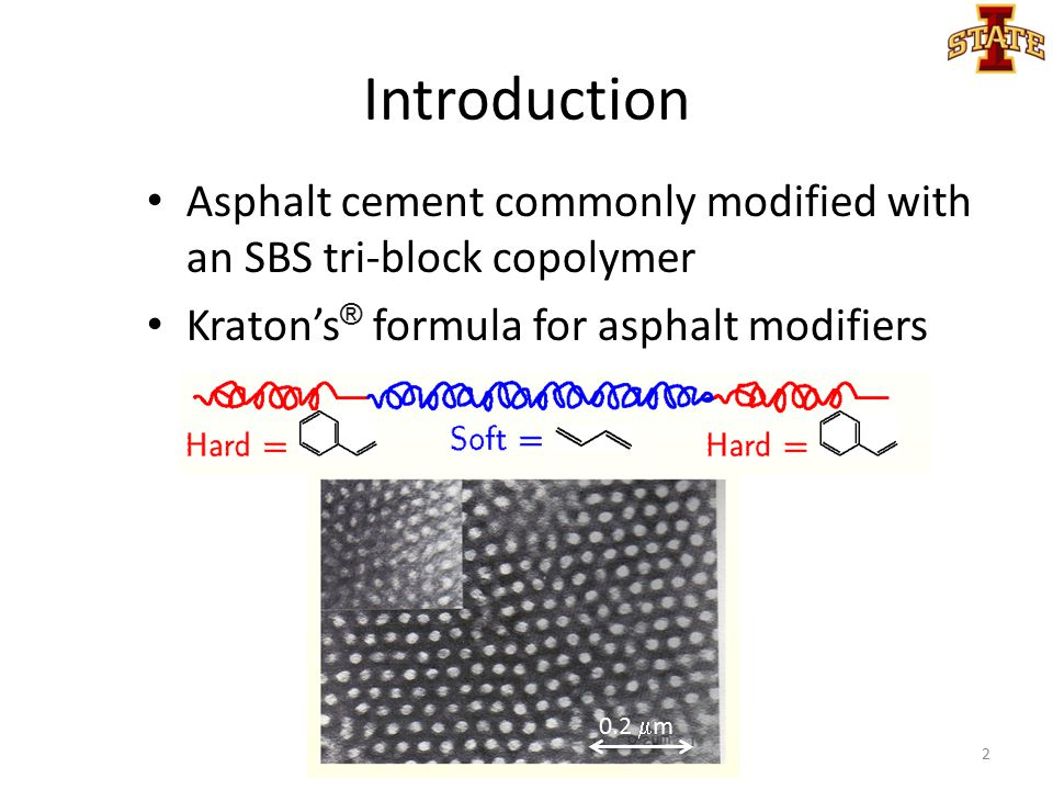 Introduction Asphalt cement commonly modified with an SBS tri-block copolymer Kraton's ® formula for asphalt modifiers 2 0.2  m