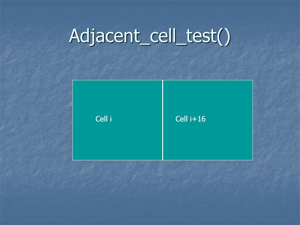Adjacent_cell_test() Cell iCell i+16