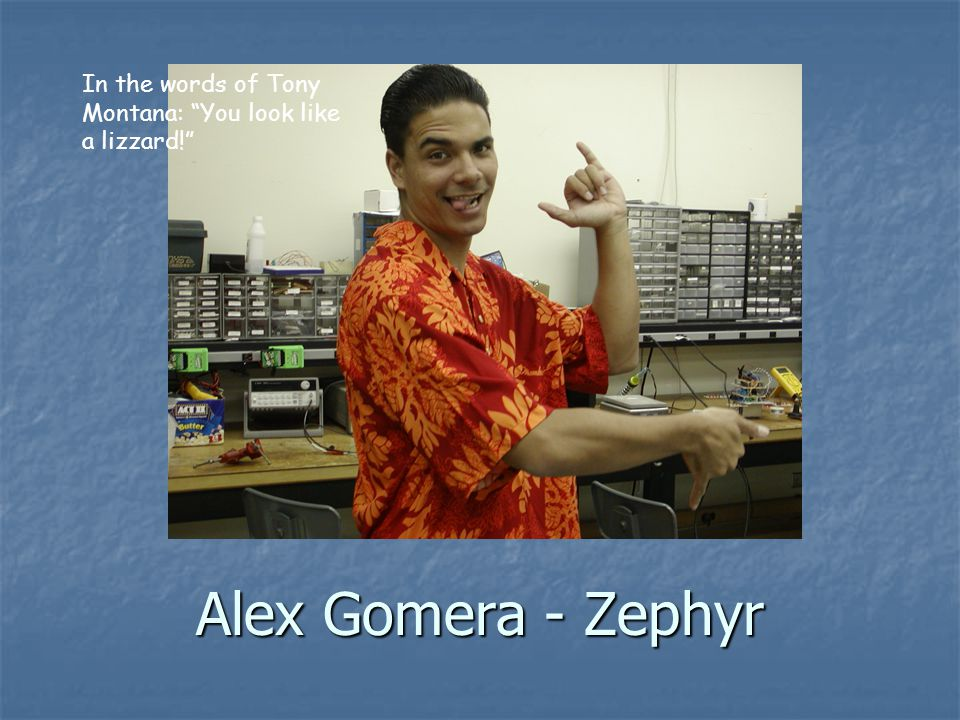 Alex Gomera - Zephyr In the words of Tony Montana: You look like a lizzard!