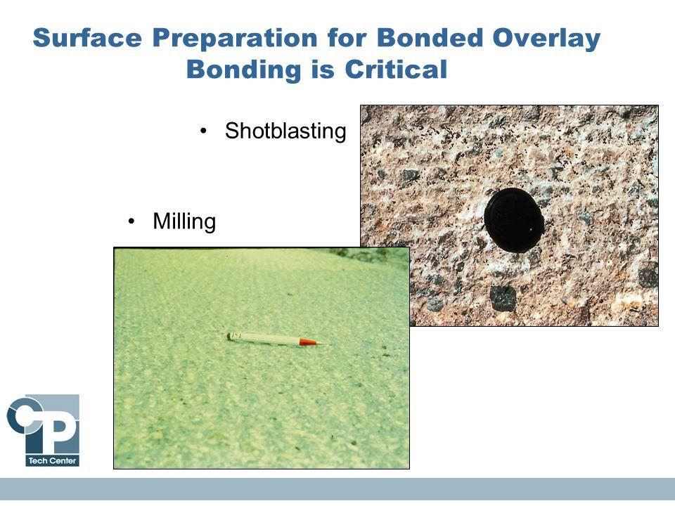Surface Preparation for Bonded Overlay Bonding is Critical Milling Shotblasting
