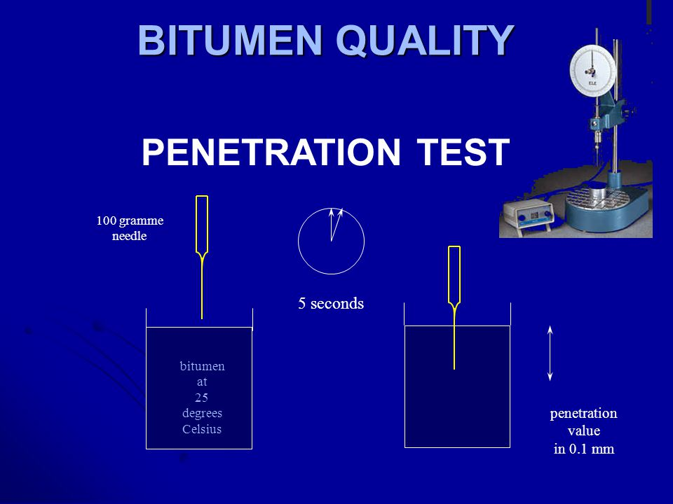Bitumen Testing * Penetration. * Softening point. * Solubility in Trichloroethylene. * Ductility. * Flash point. * Retained penetration after thin fil