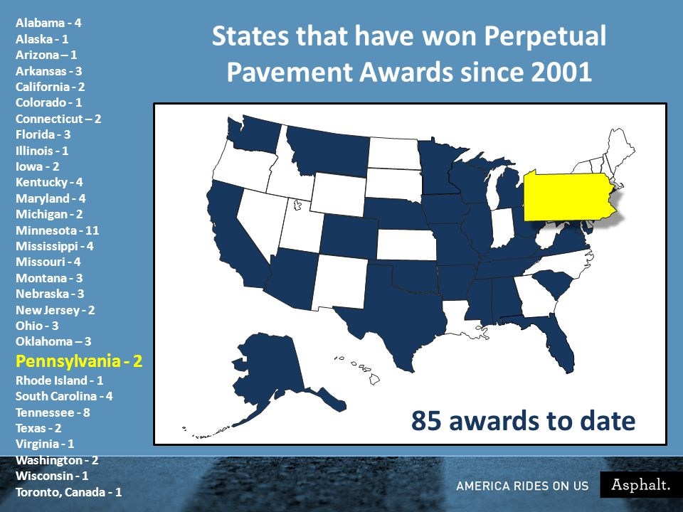 States that have won Perpetual Pavement Awards since 2001 85 awards to date Alabama - 4 Alaska - 1 Arizona – 1 Arkansas - 3 California - 2 Colorado - 1 Connecticut – 2 Florida - 3 Illinois - 1 Iowa - 2 Kentucky - 4 Maryland - 4 Michigan - 2 Minnesota - 11 Mississippi - 4 Missouri - 4 Montana - 3 Nebraska - 3 New Jersey - 2 Ohio - 3 Oklahoma – 3 Pennsylvania - 2 Rhode Island - 1 South Carolina - 4 Tennessee - 8 Texas - 2 Virginia - 1 Washington - 2 Wisconsin - 1 Toronto, Canada - 1