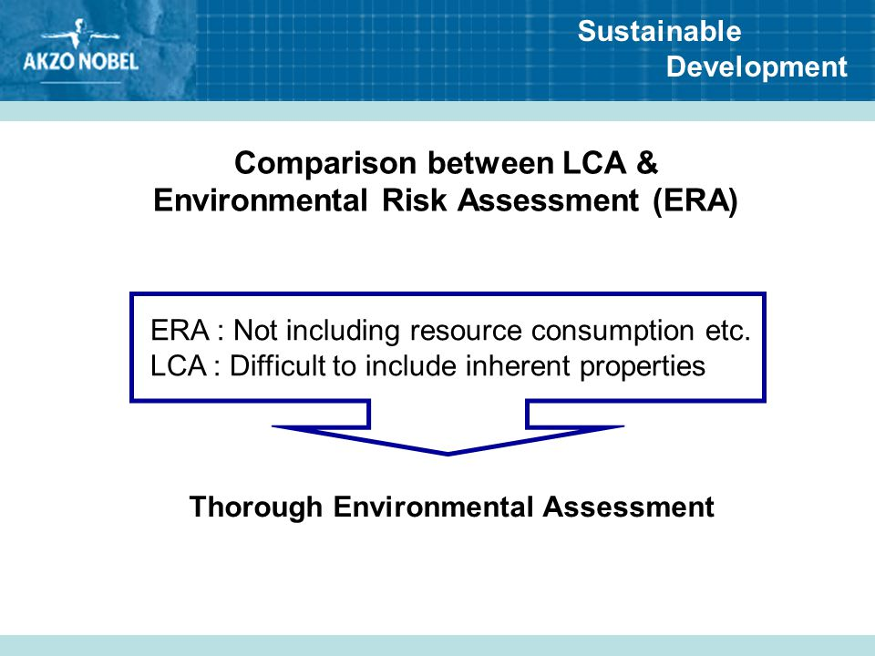 Sustainable Development Comparison between LCA & Environmental Risk Assessment (ERA) ERA : Not including resource consumption etc. LCA : Difficult to
