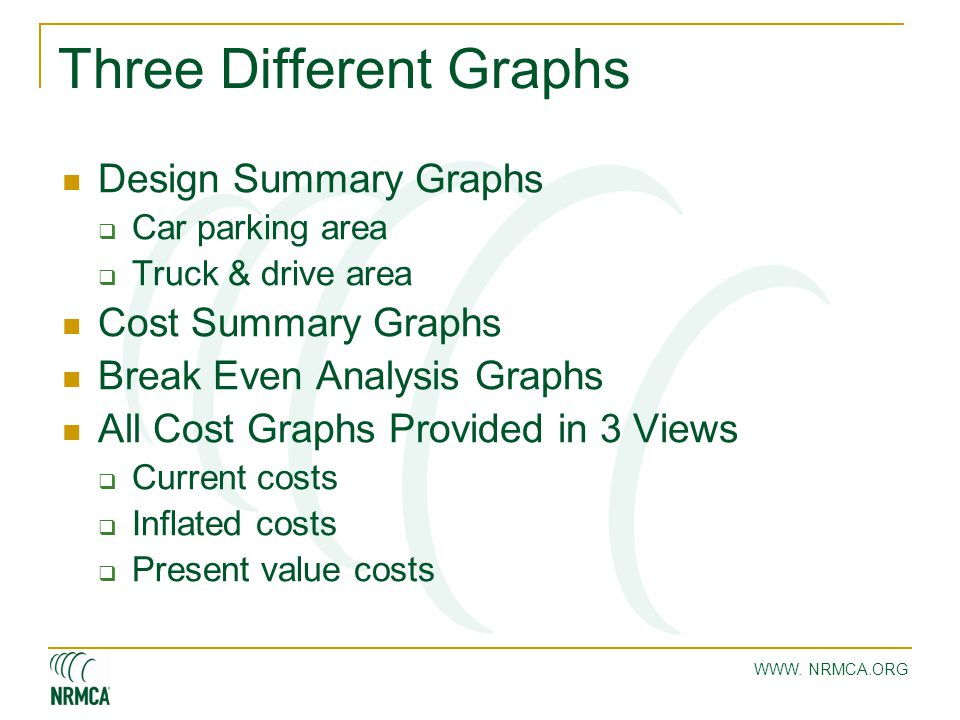 Three Different Graphs Design Summary Graphs  Car parking area  Truck & drive area Cost Summary Graphs Break Even Analysis Graphs All Cost Graphs Pr