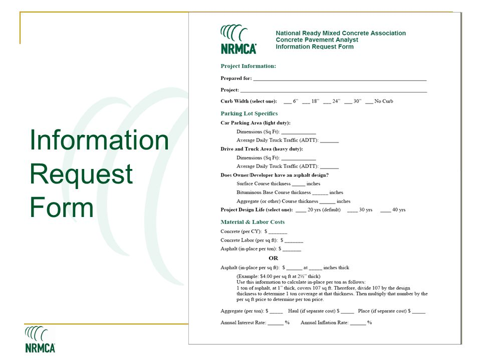 WWW. NRMCA.ORG Information Request Form