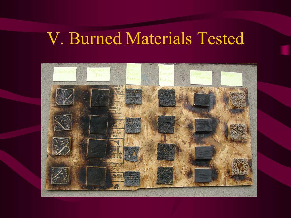 V. Burned Materials Tested