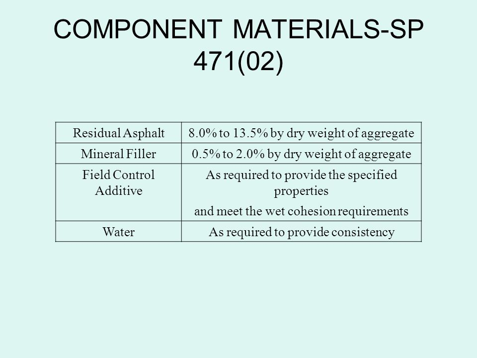 COMPONENT MATERIALS-SP 471(02) Residual Asphalt8.0% to 13.5% by dry weight of aggregate Mineral Filler0.5% to 2.0% by dry weight of aggregate Field Co