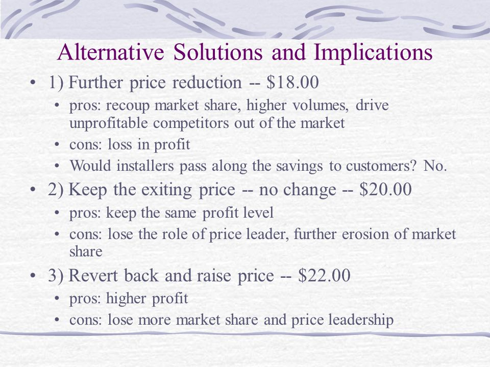 Alternative Solutions and Implications 1) Further price reduction -- $18.00 pros: recoup market share, higher volumes, drive unprofitable competitors out of the market cons: loss in profit Would installers pass along the savings to customers.