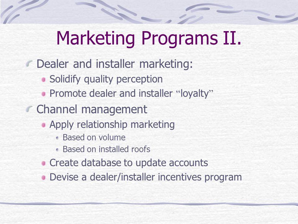 Marketing Programs II.