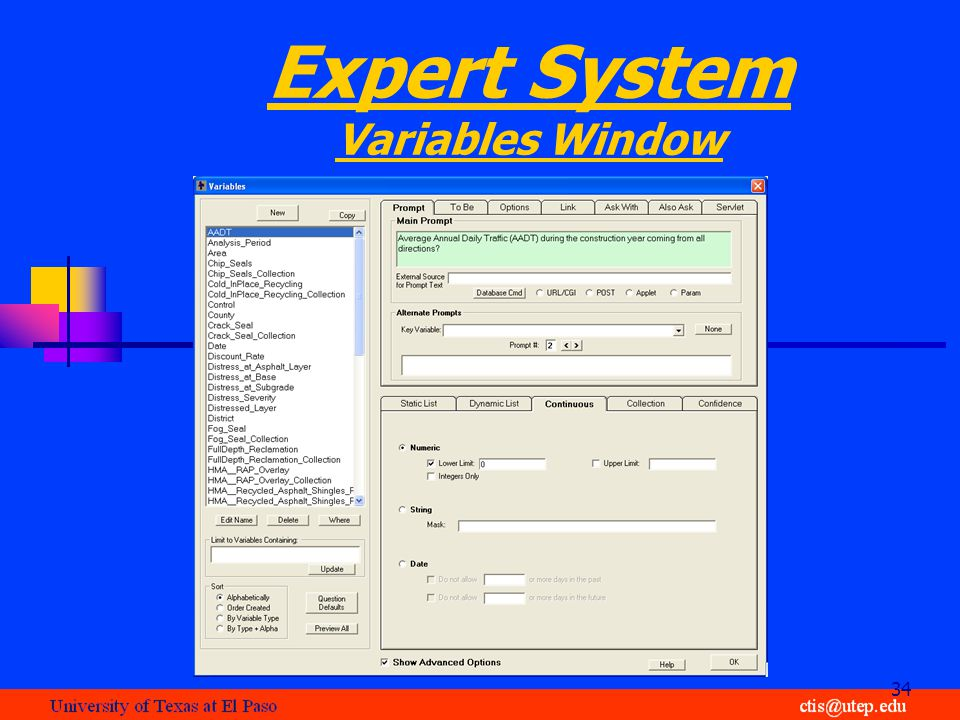 Expert System Variables Window 34