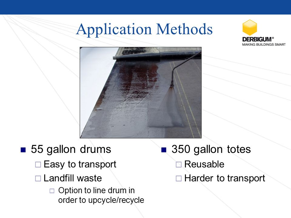 Application Methods 55 gallon drums  Easy to transport  Landfill waste  Option to line drum in order to upcycle/recycle 350 gallon totes  Reusable  Harder to transport