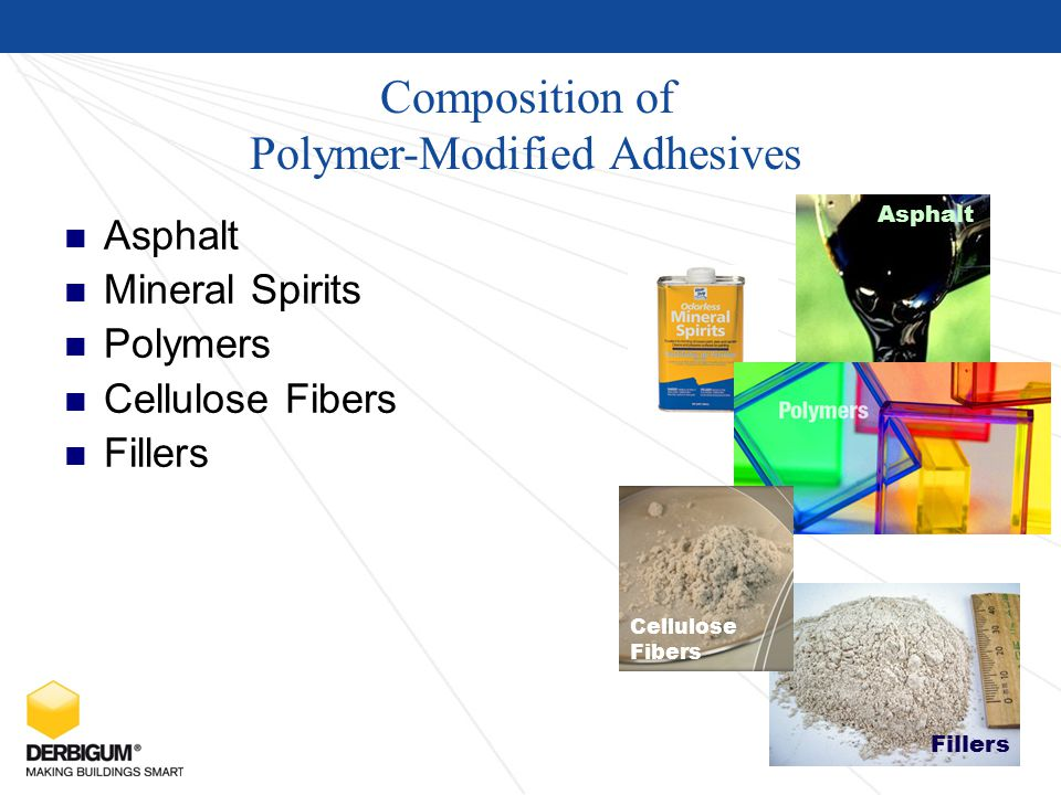 Composition of Polymer-Modified Adhesives Asphalt Mineral Spirits Polymers Cellulose Fibers Fillers Asphalt Cellulose Fibers