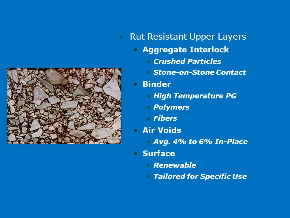 ›Rut Resistant Upper Layers Aggregate Interlock »Crushed Particles »Stone-on-Stone Contact Binder »High Temperature PG »Polymers »Fibers Air Voids »Avg.