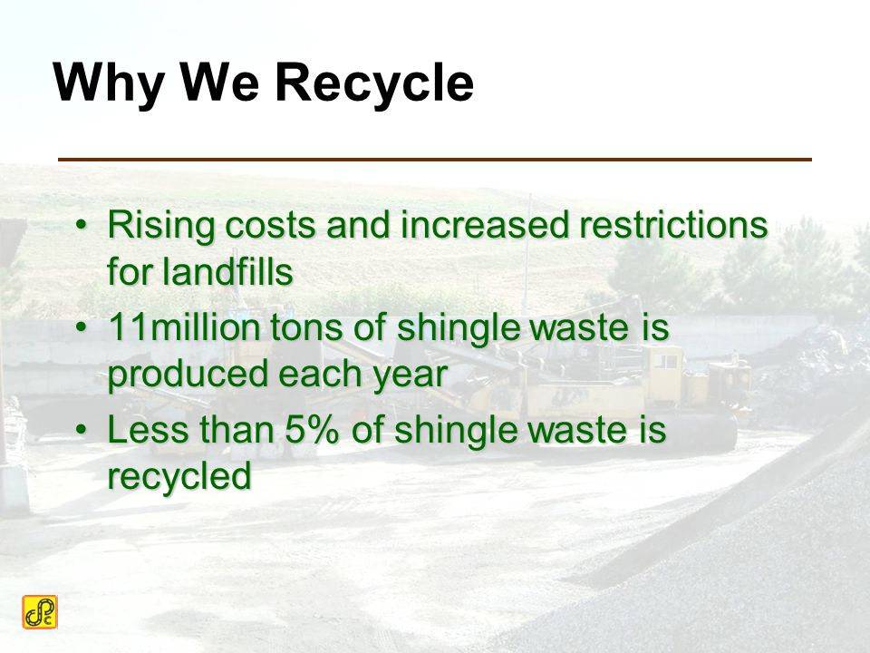 Why We Recycle Rising costs and increased restrictions for landfillsRising costs and increased restrictions for landfills 11million tons of shingle waste is produced each year11million tons of shingle waste is produced each year Less than 5% of shingle waste is recycledLess than 5% of shingle waste is recycled