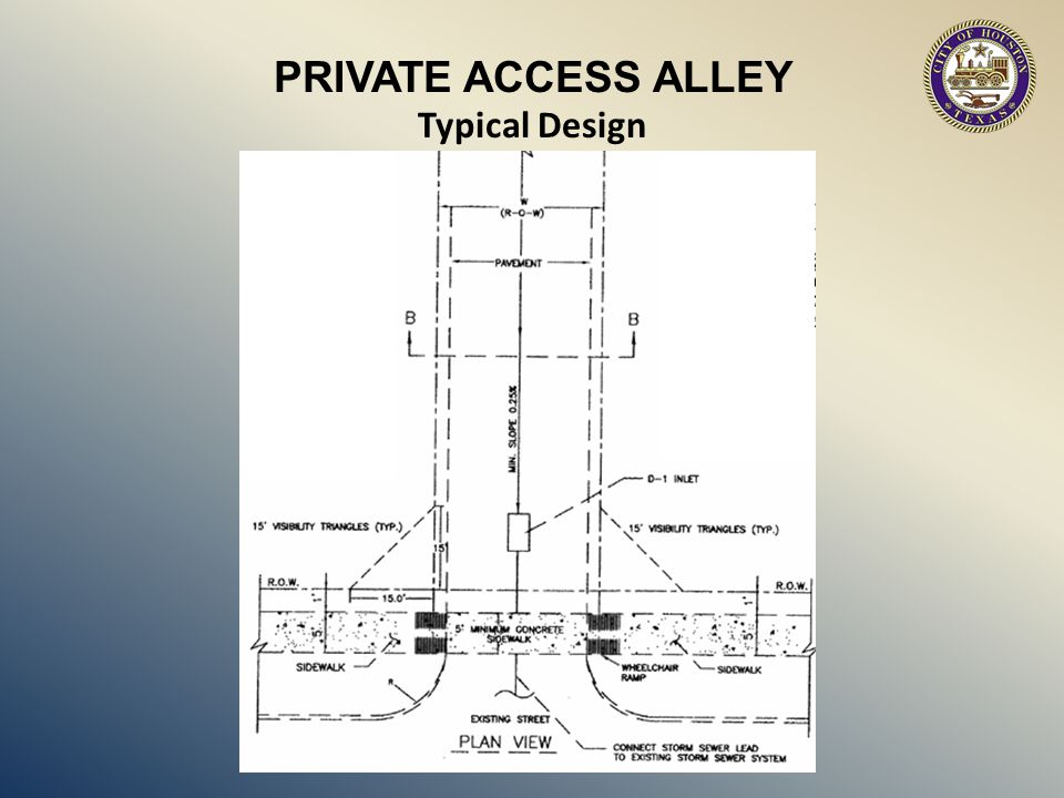 OTHER ALLEY DRAINAGE – Is not to drain onto adjacent property – Storm water to drain along alley into drainage facilities or intersecting street.