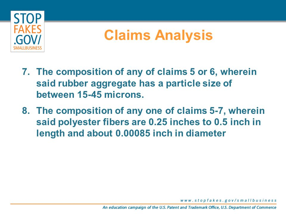 Claims Analysis 7.The composition of any of claims 5 or 6, wherein said rubber aggregate has a particle size of between 15-45 microns. 8.The compositi