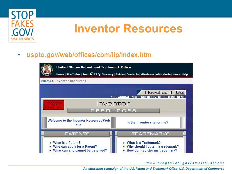 Inventor Resources uspto.gov/web/offices/com/iip/index.htm
