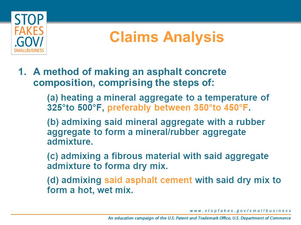 Claims Analysis 1.A method of making an asphalt concrete composition, comprising the steps of: (a) heating a mineral aggregate to a temperature of 325