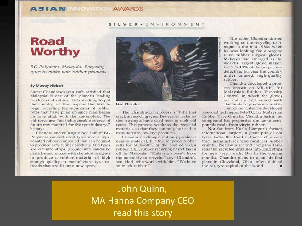 John Quinn, MA Hanna Company CEO read this story