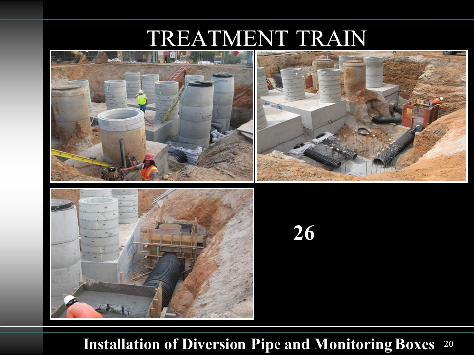 20 TREATMENT TRAIN Installation of Diversion Pipe and Monitoring Boxes 26