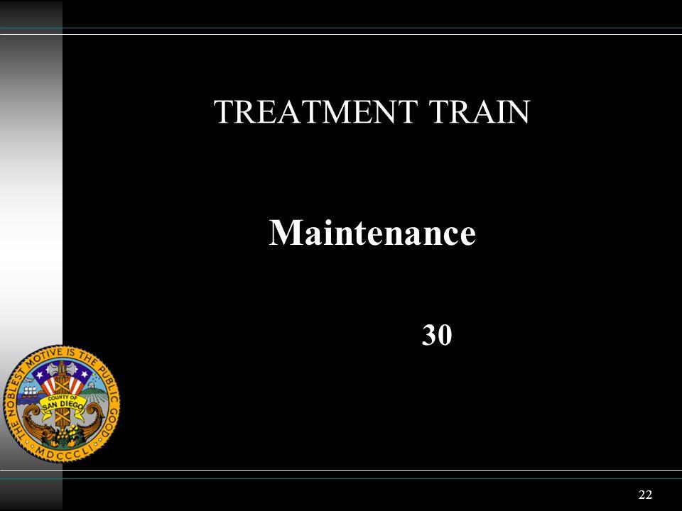 22 TREATMENT TRAIN Maintenance 30