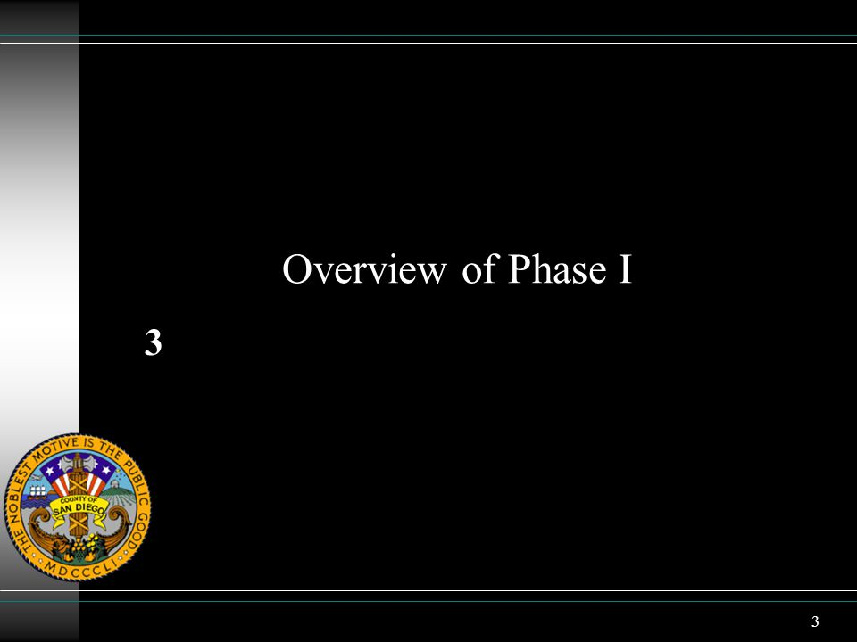 3 Overview of Phase I 3