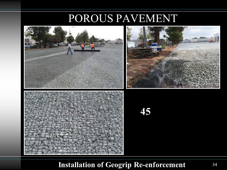 34 POROUS PAVEMENT Installation of Geogrip Re-enforcement 45