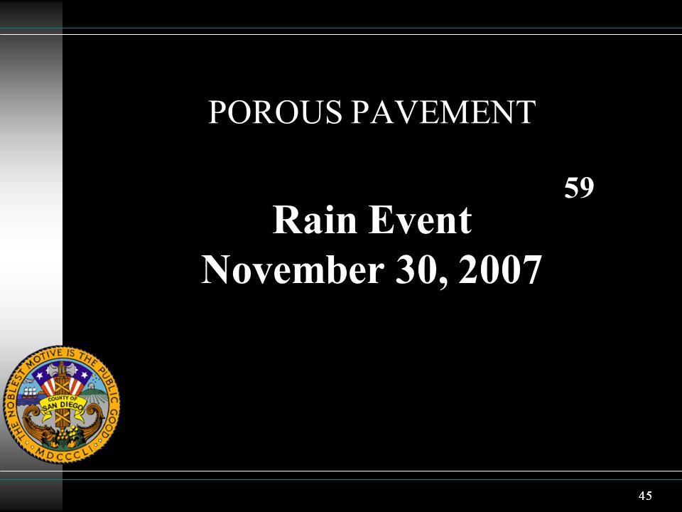 45 POROUS PAVEMENT Rain Event November 30, 2007 59