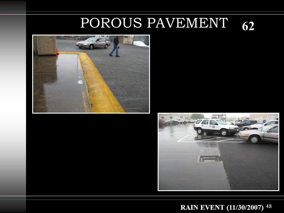 48 POROUS PAVEMENT RAIN EVENT (11/30/2007) 62