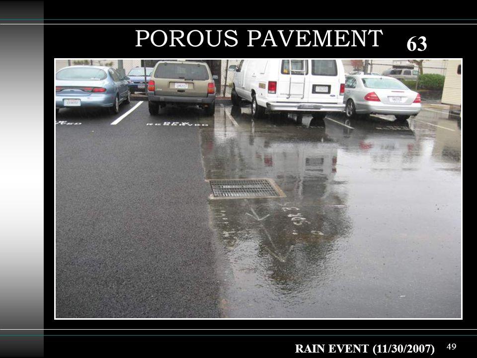 49 POROUS PAVEMENT RAIN EVENT (11/30/2007) 63