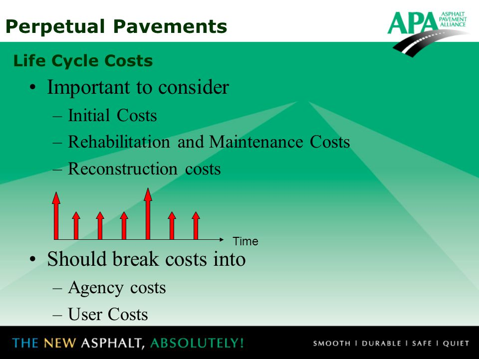 Perpetual Pavements Life Cycle Costs Important to consider –Initial Costs –Rehabilitation and Maintenance Costs –Reconstruction costs Should break cos