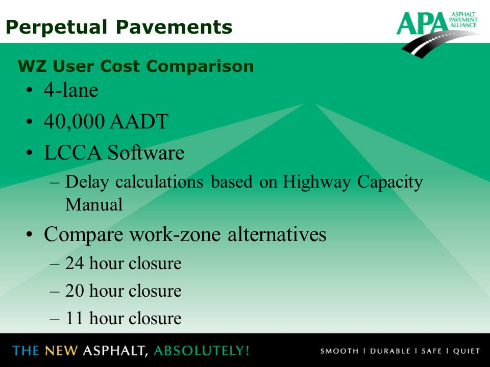 Perpetual Pavements WZ User Cost Comparison 4-lane 40,000 AADT LCCA Software –Delay calculations based on Highway Capacity Manual Compare work-zone al