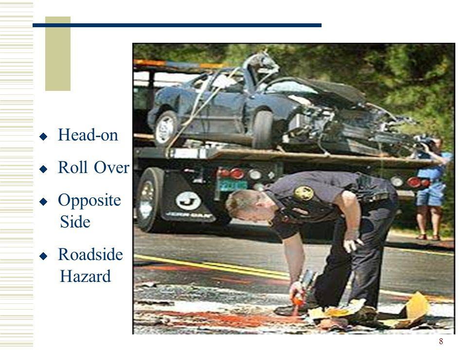 8  Head-on  Roll Over  Opposite Side  Roadside Hazard