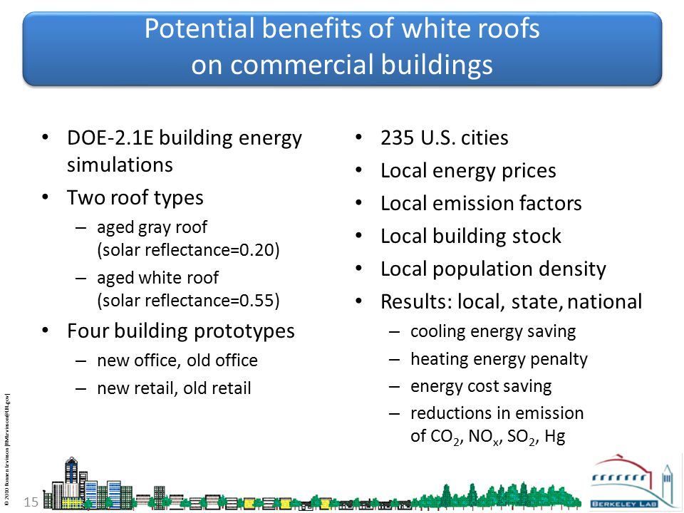 © 2010 Ronnen Levinson (RMLevinson@LBL.gov) 15 Potential benefits of white roofs on commercial buildings DOE-2.1E building energy simulations Two roof types – aged gray roof (solar reflectance=0.20) – aged white roof (solar reflectance=0.55) Four building prototypes – new office, old office – new retail, old retail 235 U.S.