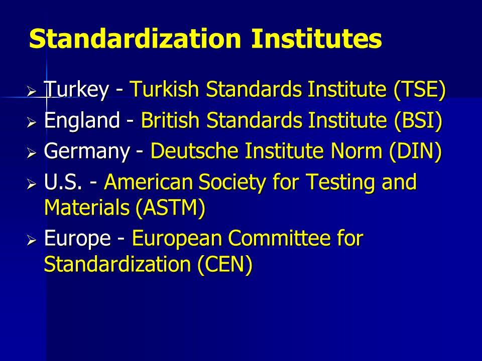  Turkey - Turkish Standards Institute (TSE)  England - British Standards Institute (BSI)  Germany - Deutsche Institute Norm (DIN)  U.S. - American
