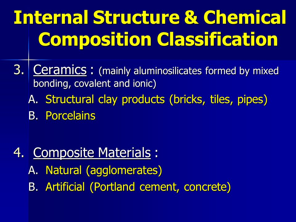 5.Reinforced Composite Materials : (reinforced concrete, reinforced plastics)  One of the most important tasks of an engineer is to select the most suitable material for a given civil engineering structure.
