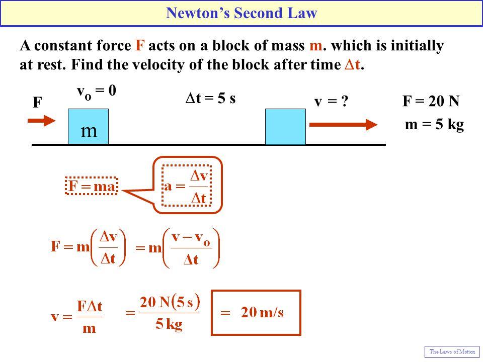 F v o = 0 m  t = 5 s v = .