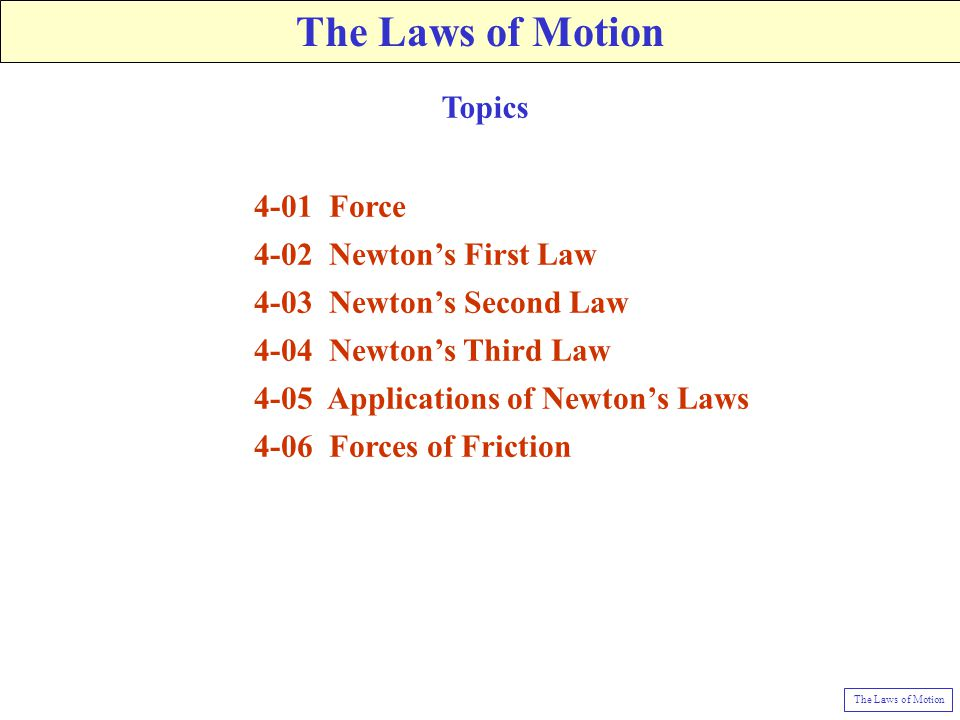 4-01 Force 4-02 Newton's First Law 4-03 Newton's Second Law 4-04 Newton's Third Law 4-05 Applications of Newton's Laws 4-06 Forces of Friction Topics The Laws of Motion