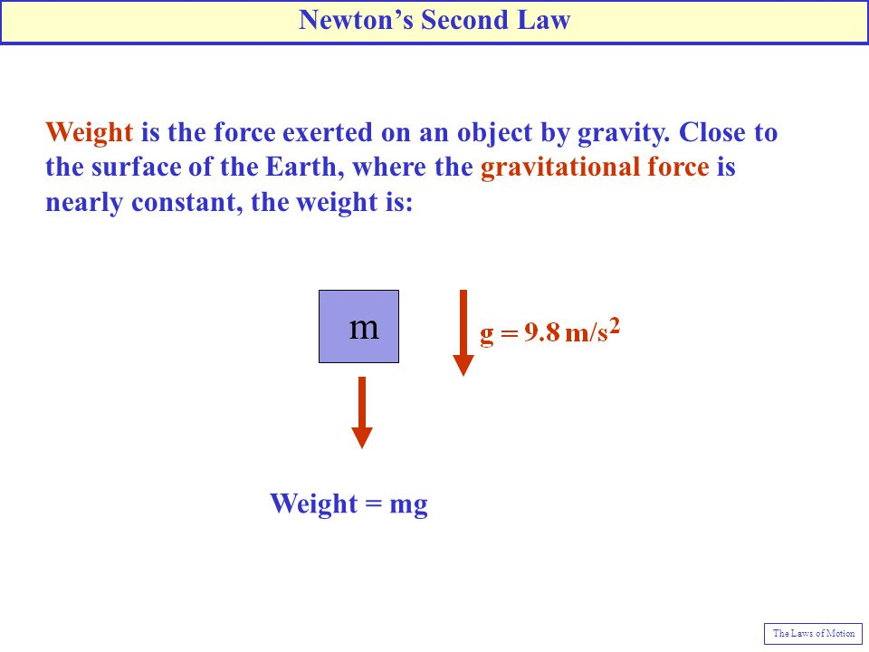 m Weight = mg Weight is the force exerted on an object by gravity. Close to the surface of the Earth, where the gravitational force is nearly constant